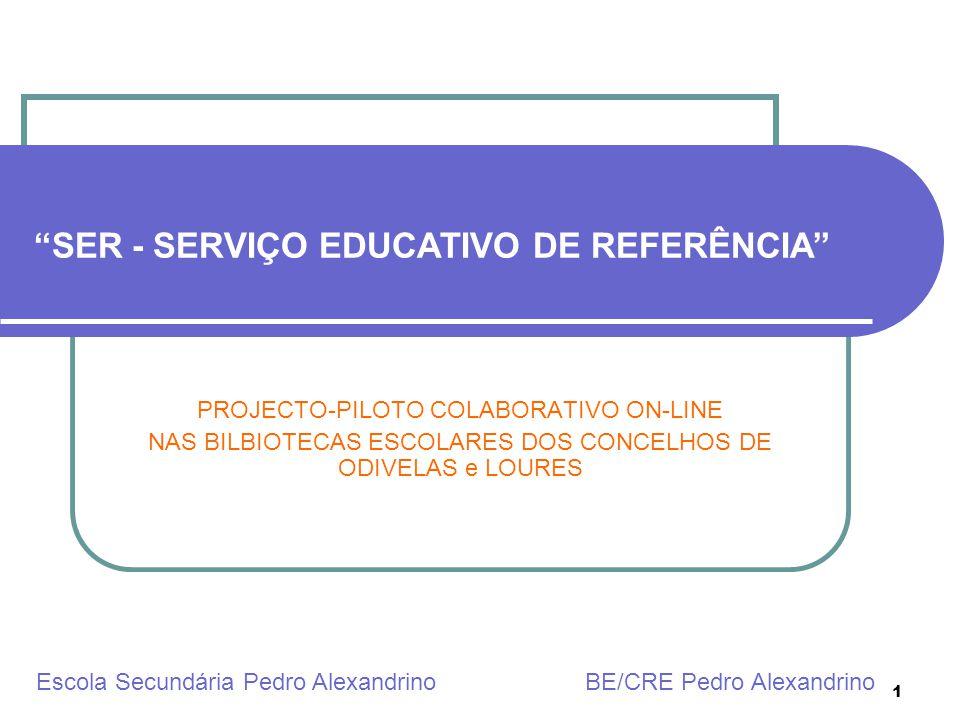 1 SER - SERVIÇO EDUCATIVO DE REFERÊNCIA PROJECTO-PILOTO COLABORATIVO ON-LINE NAS BILBIOTECAS ESCOLARES DOS CONCELHOS DE ODIVELAS e LOURES Escola Secun