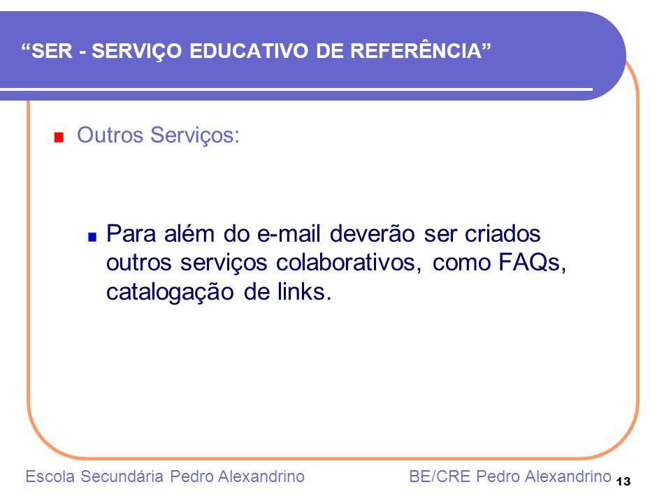 13 SER - SERVIÇO EDUCATIVO DE REFERÊNCIA Outros Serviços: Para além do e-mail deverão ser criados outros serviços colaborativos, como FAQs, catalogaçã