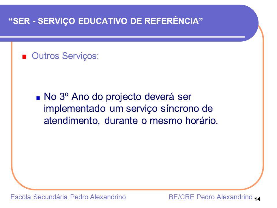 14 SER - SERVIÇO EDUCATIVO DE REFERÊNCIA Outros Serviços: No 3º Ano do projecto deverá ser implementado um serviço síncrono de atendimento, durante o