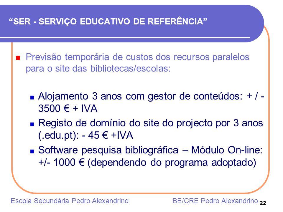 22 SER - SERVIÇO EDUCATIVO DE REFERÊNCIA Previsão temporária de custos dos recursos paralelos para o site das bibliotecas/escolas: Alojamento 3 anos c