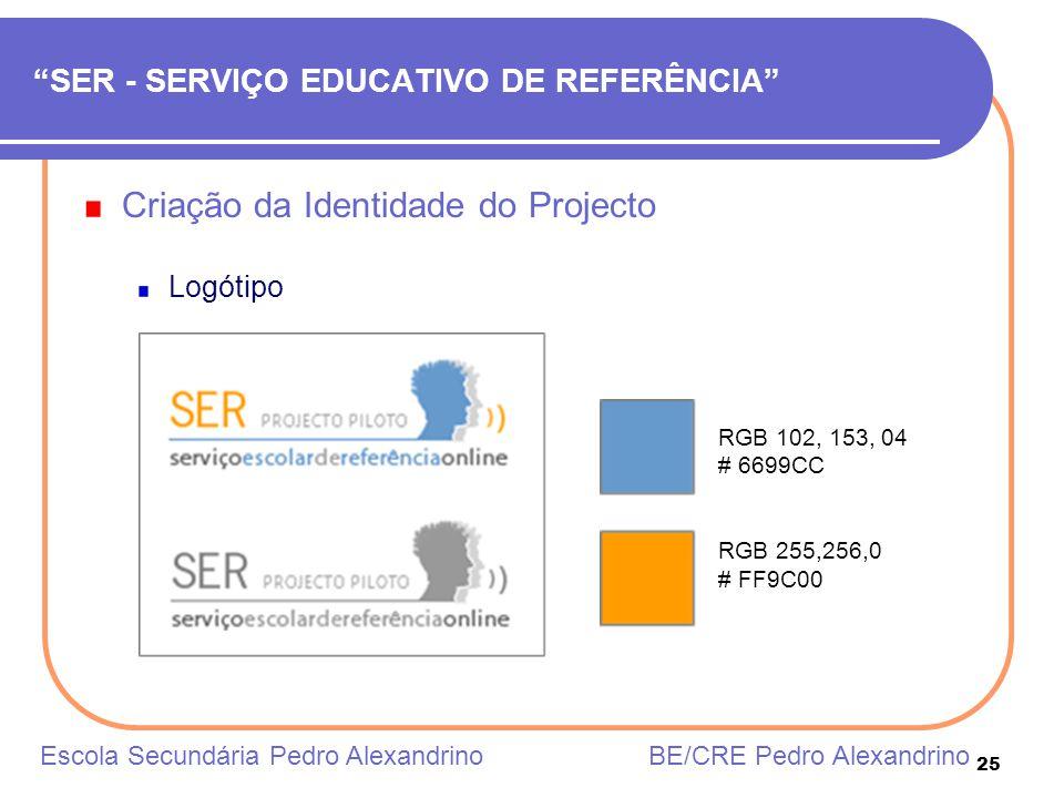 25 SER - SERVIÇO EDUCATIVO DE REFERÊNCIA Criação da Identidade do Projecto Logótipo Escola Secundária Pedro Alexandrino BE/CRE Pedro Alexandrino RGB 1