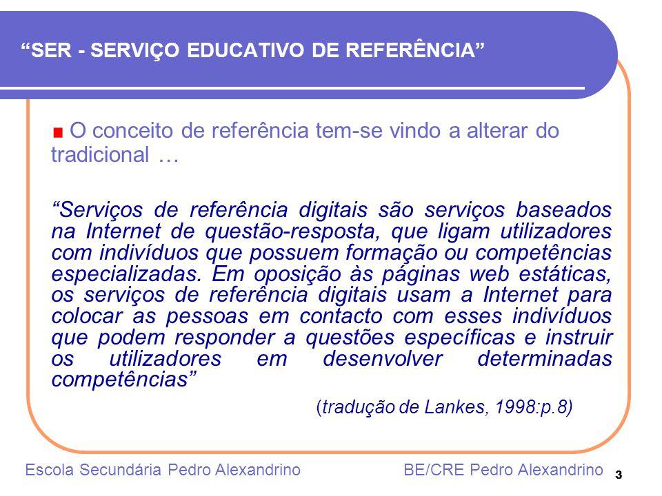 3 SER - SERVIÇO EDUCATIVO DE REFERÊNCIA O conceito de referência tem-se vindo a alterar do tradicional … Serviços de referência digitais são serviços