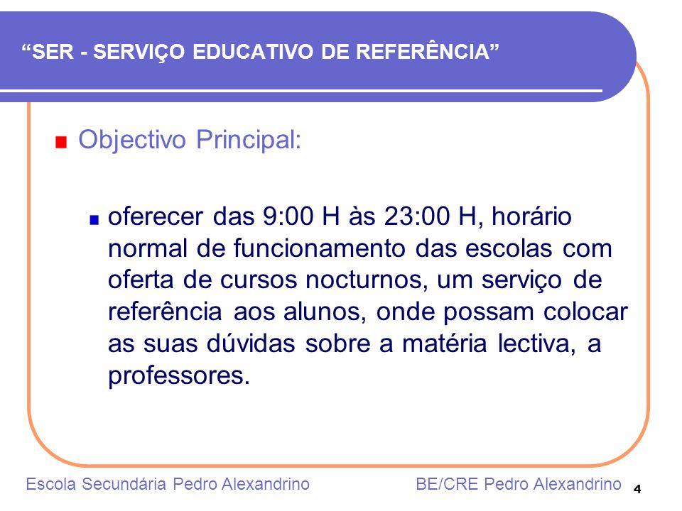 4 SER - SERVIÇO EDUCATIVO DE REFERÊNCIA Objectivo Principal: oferecer das 9:00 H às 23:00 H, horário normal de funcionamento das escolas com oferta de