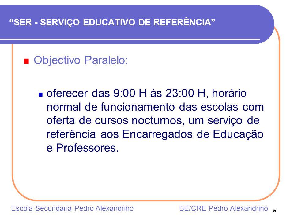 5 SER - SERVIÇO EDUCATIVO DE REFERÊNCIA Objectivo Paralelo: oferecer das 9:00 H às 23:00 H, horário normal de funcionamento das escolas com oferta de