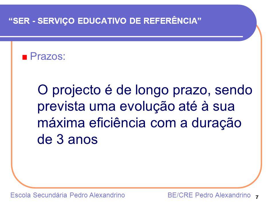 7 SER - SERVIÇO EDUCATIVO DE REFERÊNCIA Prazos: O projecto é de longo prazo, sendo prevista uma evolução até à sua máxima eficiência com a duração de