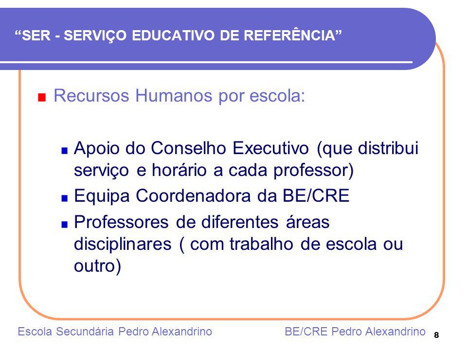8 SER - SERVIÇO EDUCATIVO DE REFERÊNCIA Recursos Humanos por escola: Apoio do Conselho Executivo (que distribui serviço e horário a cada professor) Eq