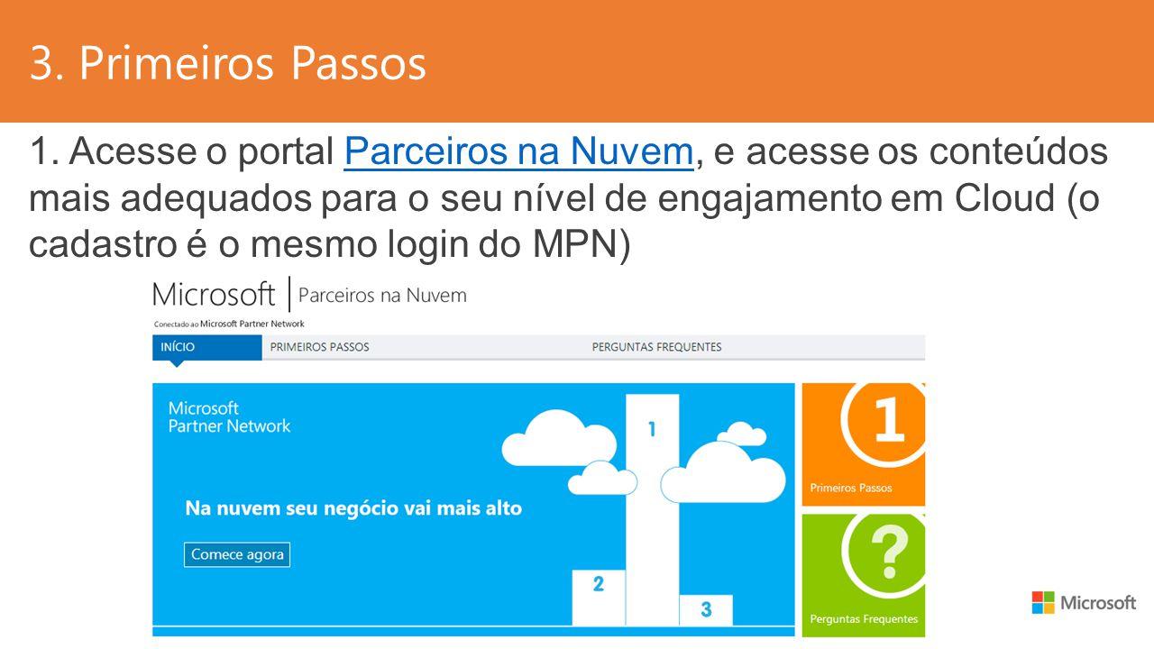 3. Primeiros Passos 1. Acesse o portal Parceiros na Nuvem, e acesse os conteúdos mais adequados para o seu nível de engajamento em Cloud (o cadastro é