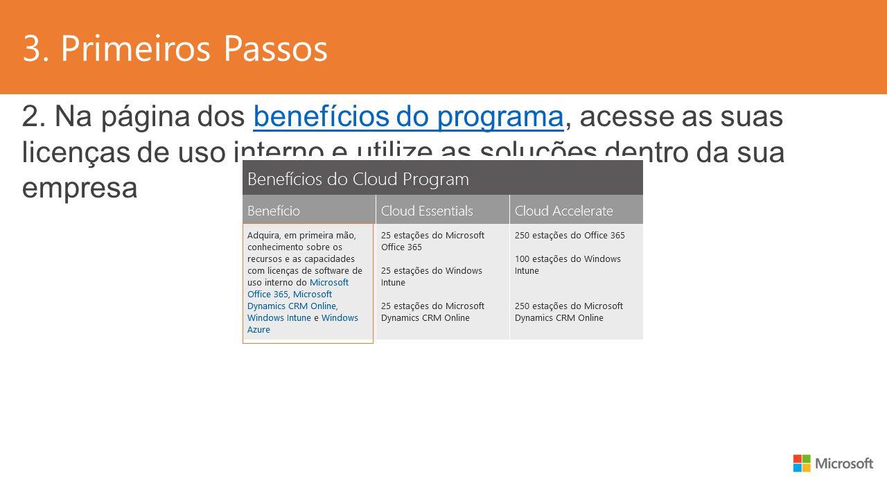 3. Primeiros Passos 2. Na página dos benefícios do programa, acesse as suas licenças de uso interno e utilize as soluções dentro da sua empresabenefíc