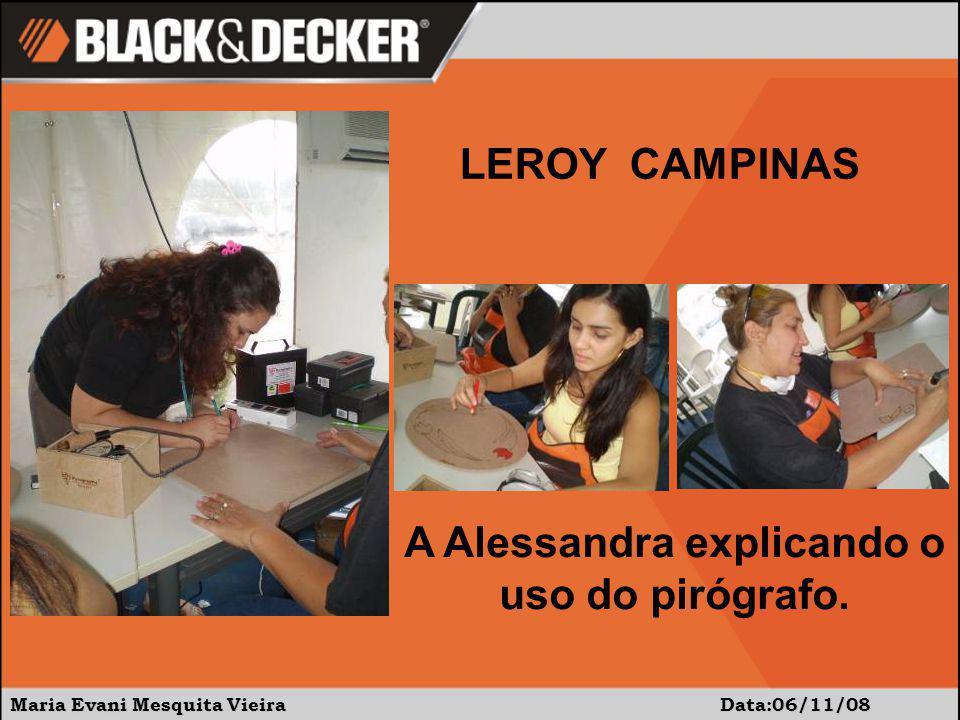 Maria Evani Mesquita Vieira Data:06/11/08 A Alessandra explicando o uso do pirógrafo. LEROY CAMPINAS