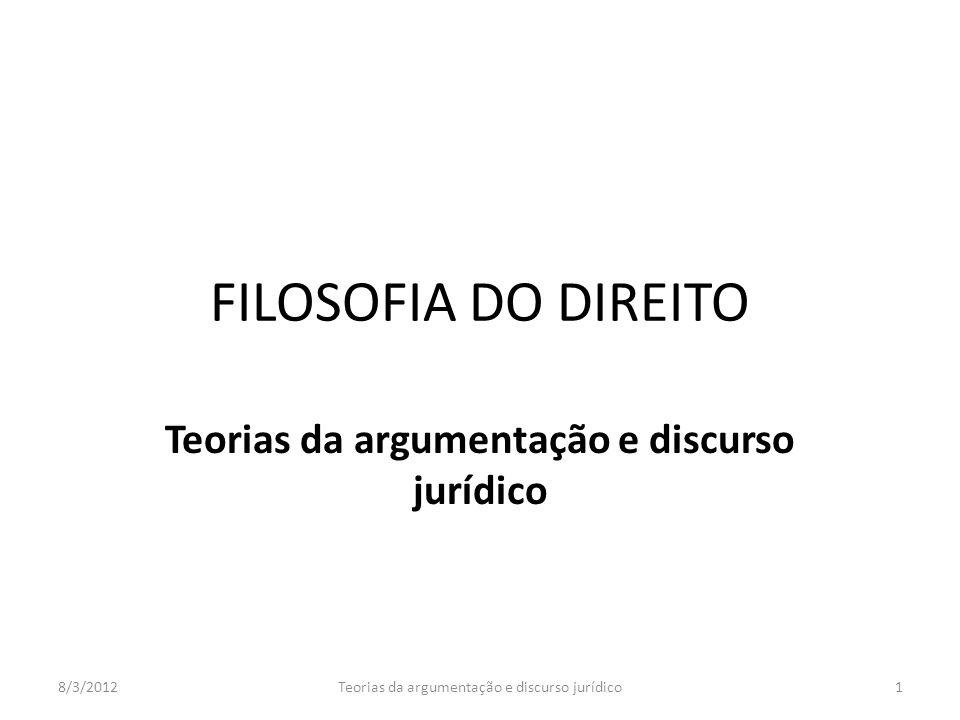 FILOSOFIA DO DIREITO Teorias da argumentação e discurso jurídico 8/3/20121Teorias da argumentação e discurso jurídico
