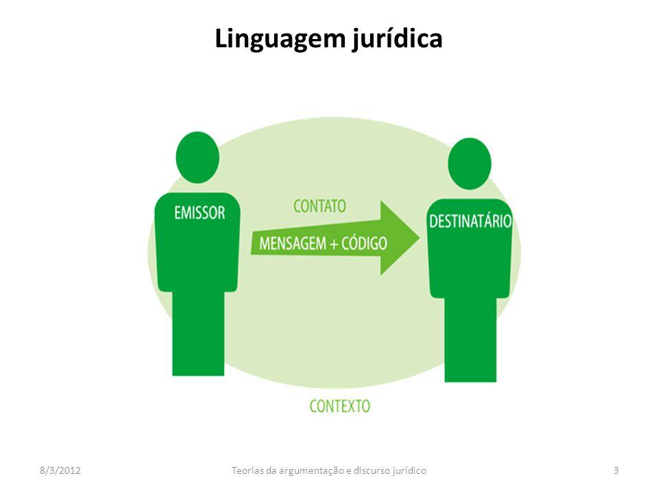 8/3/2012Teorias da argumentação e discurso jurídico3 Linguagem jurídica