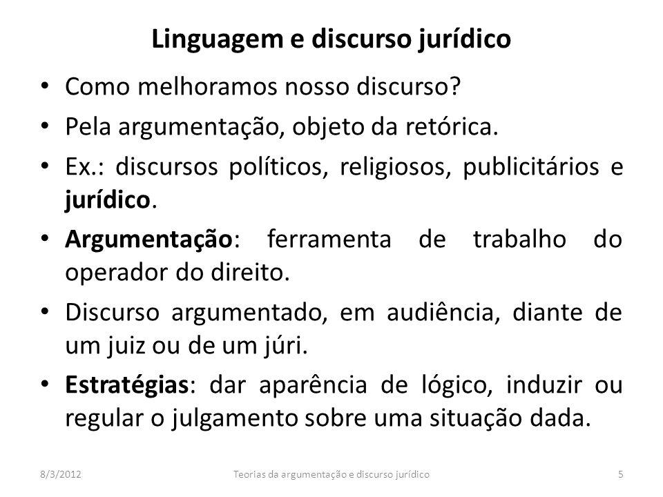 Como melhoramos nosso discurso? Pela argumentação, objeto da retórica. Ex.: discursos políticos, religiosos, publicitários e jurídico. Argumentação: f