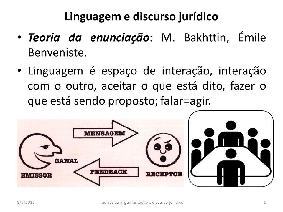 Teoria da enunciação: M. Bakhttin, Émile Benveniste. Linguagem é espaço de interação, interação com o outro, aceitar o que está dito, fazer o que está