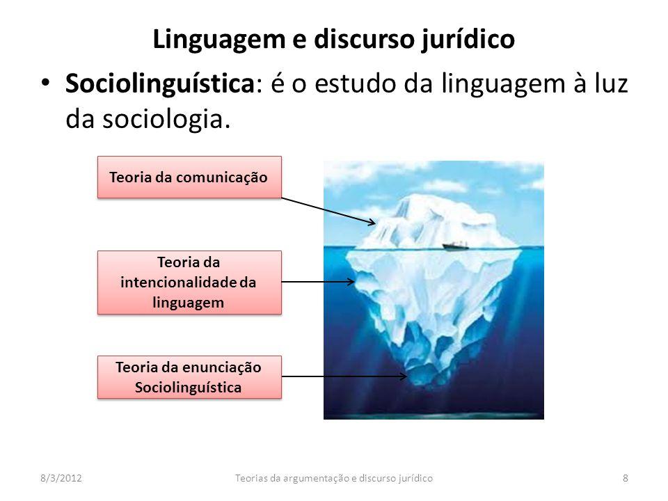 Sociolinguística: é o estudo da linguagem à luz da sociologia. 8/3/2012Teorias da argumentação e discurso jurídico8 Teoria da comunicação Teoria da in
