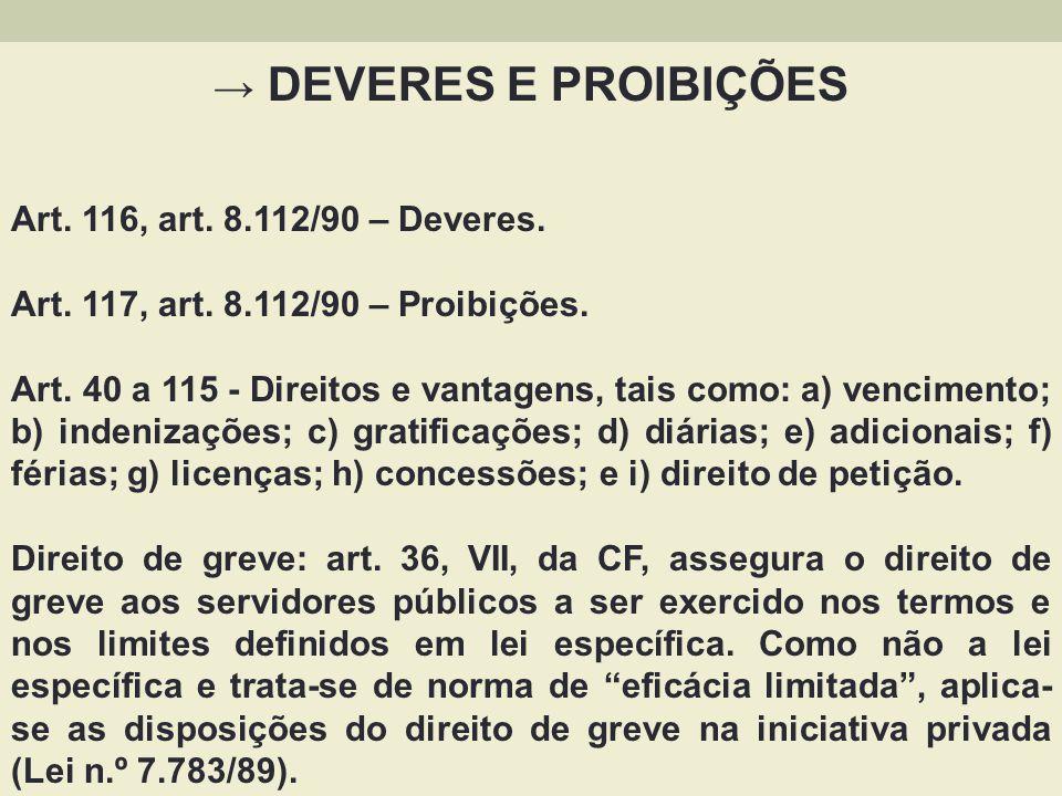 DEVERES E PROIBIÇÕES Art. 116, art. 8.112/90 – Deveres. Art. 117, art. 8.112/90 – Proibições. Art. 40 a 115 - Direitos e vantagens, tais como: a) venc