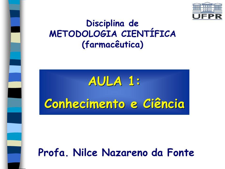 AULA 1: Conhecimento e Ciência Profa.