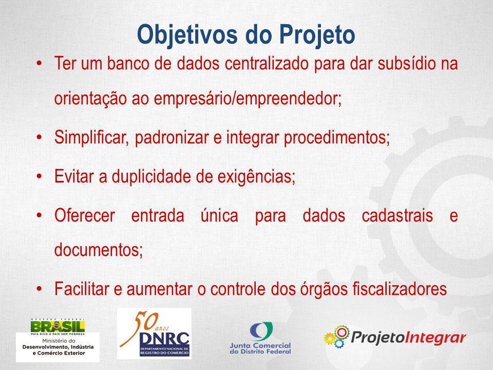 Ter um banco de dados centralizado para dar subsídio na orientação ao empresário/empreendedor; Simplificar, padronizar e integrar procedimentos; Evita