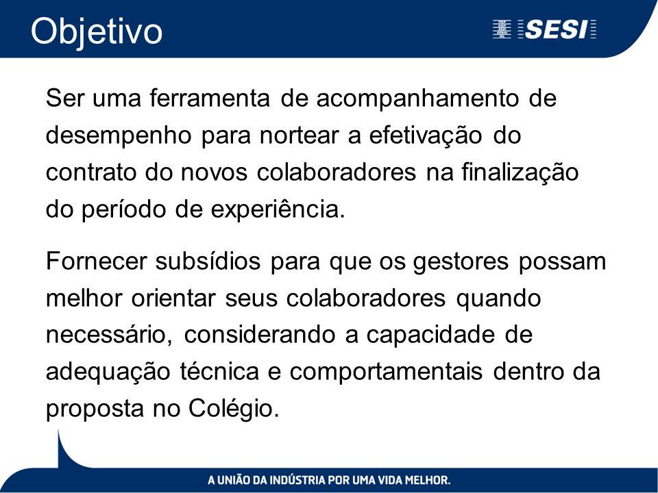 Objetivo Ser uma ferramenta de acompanhamento de desempenho para nortear a efetivação do contrato do novos colaboradores na finalização do período de experiência.