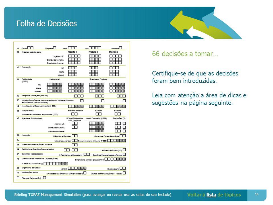 Briefing TOPAZ Management Simulation (para avançar ou recuar use as setas do seu teclado) 16 Folha de Decisões 66 decisões a tomar… Certifique-se de que as decisões foram bem introduzidas.