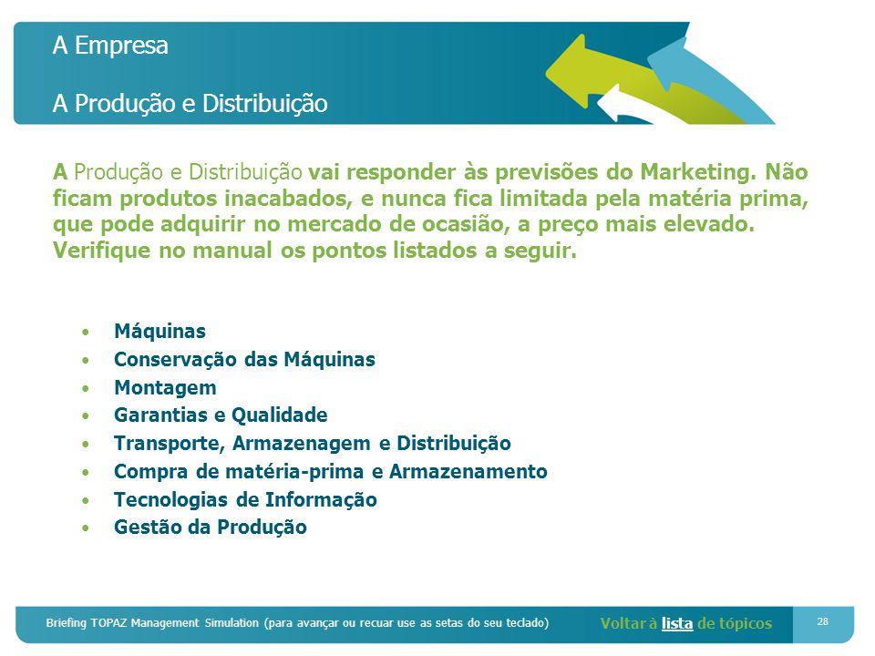 Briefing TOPAZ Management Simulation (para avançar ou recuar use as setas do seu teclado) 28 A Empresa A Produção e Distribuição A Produção e Distribuição vai responder às previsões do Marketing.