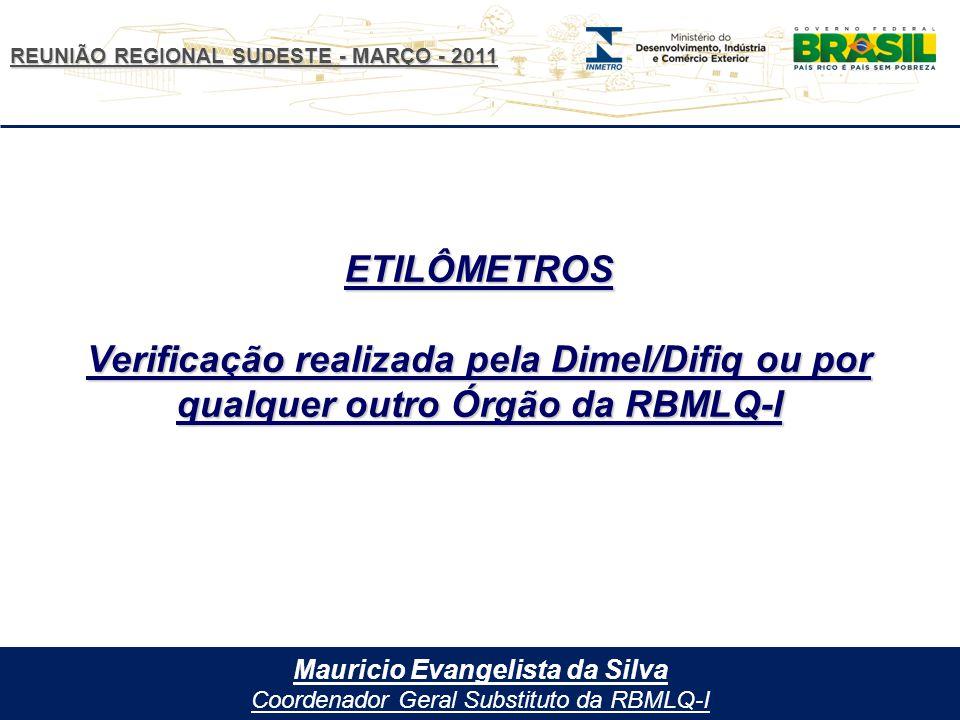 REUNIÃO REGIONAL SUDESTE - MARÇO - 2011 Mauricio Evangelista da Silva Coordenador Geral Substituto da RBMLQ-I ETILÔMETROS Verificação realizada pela Dimel/Difiq ou por qualquer outro Órgão da RBMLQ-I