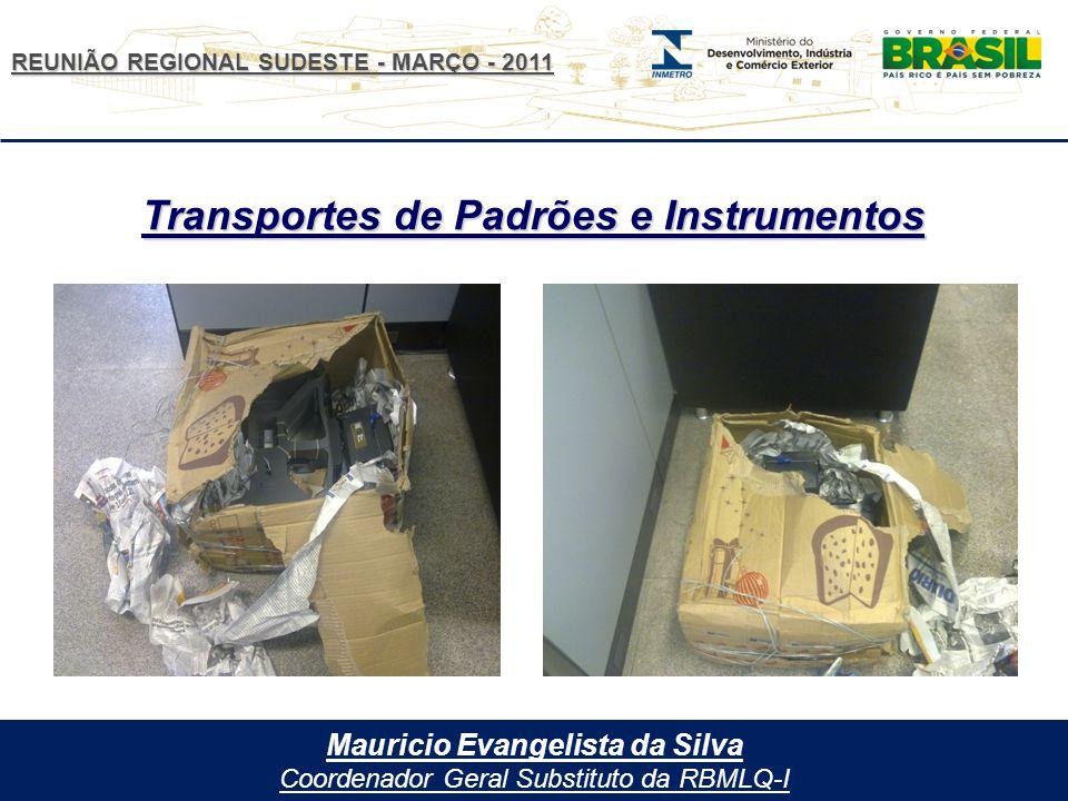 REUNIÃO REGIONAL SUDESTE - MARÇO - 2011 Mauricio Evangelista da Silva Coordenador Geral Substituto da RBMLQ-I Transportes de Padrões e Instrumentos