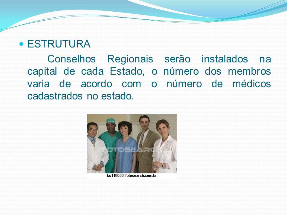 ESTRUTURA Conselhos Regionais serão instalados na capital de cada Estado, o número dos membros varia de acordo com o número de médicos cadastrados no