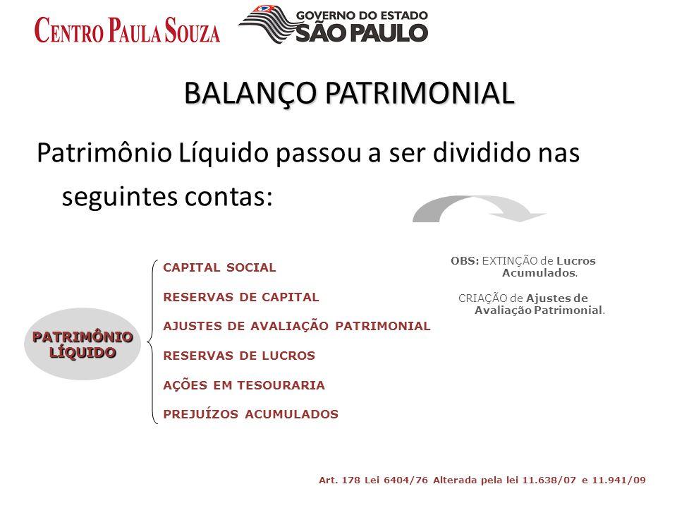 BALANÇO PATRIMONIAL Patrimônio Líquido passou a ser dividido nas seguintes contas: PATRIMÔNIOLÍQUIDO CAPITAL SOCIAL RESERVAS DE CAPITAL AJUSTES DE AVA