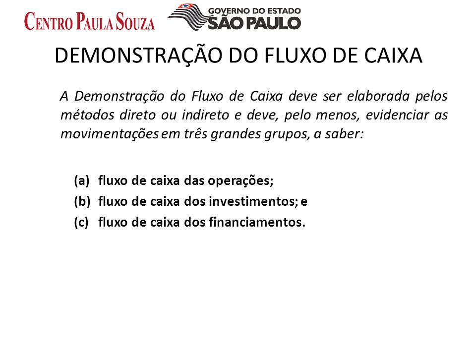 DEMONSTRAÇÃO DO FLUXO DE CAIXA A Demonstração do Fluxo de Caixa deve ser elaborada pelo s método s direto ou indireto e deve, pelo menos, evidenciar a