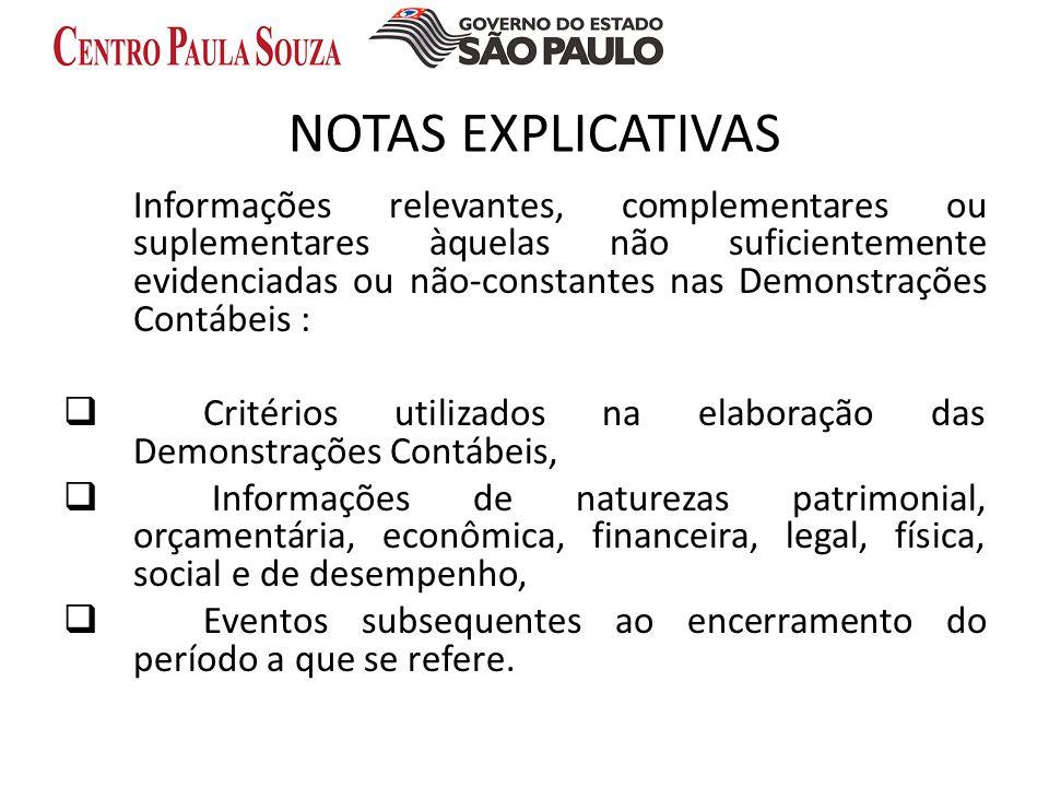NOTAS EXPLICATIVAS Informações relevantes, complementares ou suplementares àquelas não suficientemente evidenciadas ou não-constantes nas Demonstraçõe