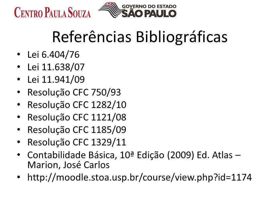 Referências Bibliográficas Lei 6.404/76 Lei 11.638/07 Lei 11.941/09 Resolução CFC 750/93 Resolução CFC 1282/10 Resolução CFC 1121/08 Resolução CFC 118