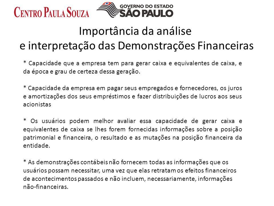 Importância da análise e interpretação das Demonstrações Financeiras * Capacidade que a empresa tem para gerar caixa e equivalentes de caixa, e da épo