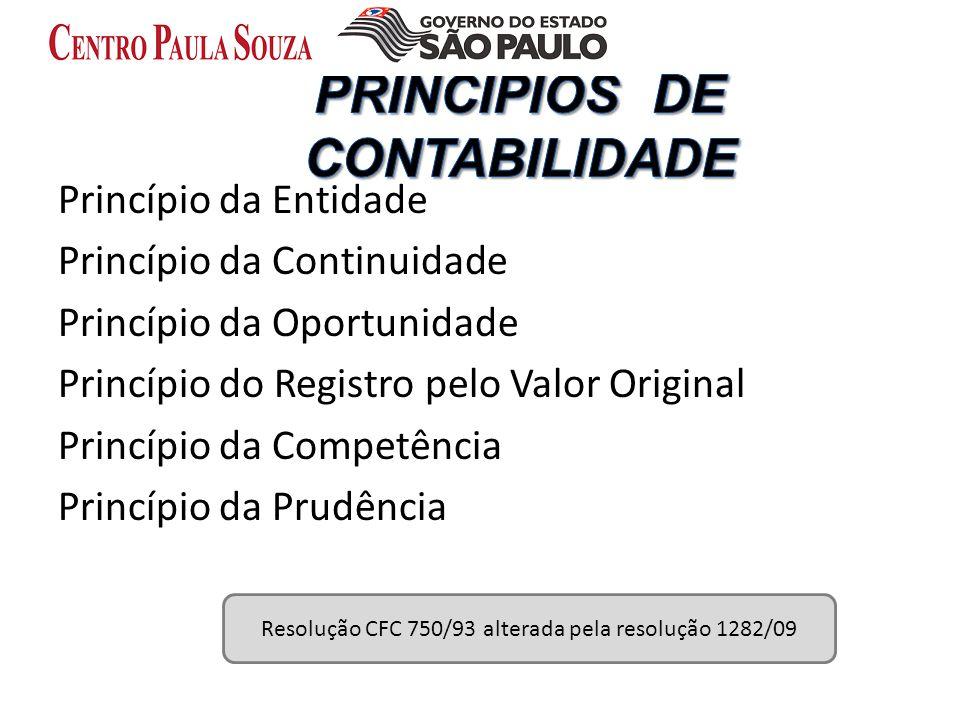 Princípio da Entidade Princípio da Continuidade Princípio da Oportunidade Princípio do Registro pelo Valor Original Princípio da Competência Princípio