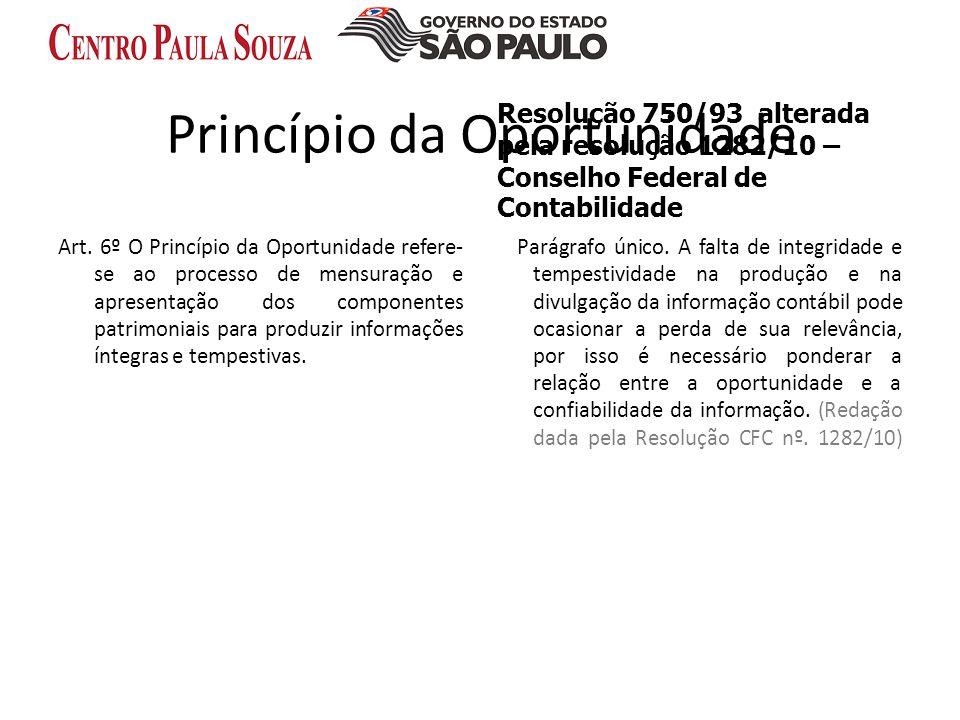 Princípio da Oportunidade Art. 6º O Princípio da Oportunidade refere- se ao processo de mensuração e apresentação dos componentes patrimoniais para pr