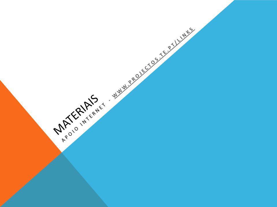 MATERIAIS APOIO INTERNET - WWW.PROJECTOS.TE.PT/LINKSWWW.PROJECTOS.TE.PT/LINKS
