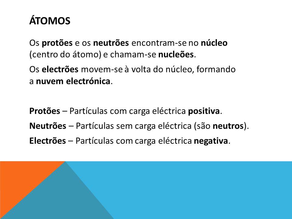 ÁTOMOS Os protões e os neutrões encontram-se no núcleo (centro do átomo) e chamam-se nucleões. Os electrões movem-se à volta do núcleo, formando a nuv
