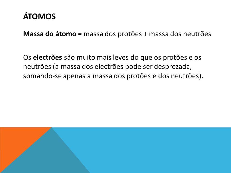 ÁTOMOS Massa do átomo = massa dos protões + massa dos neutrões Os electrões são muito mais leves do que os protões e os neutrões (a massa dos electrõe