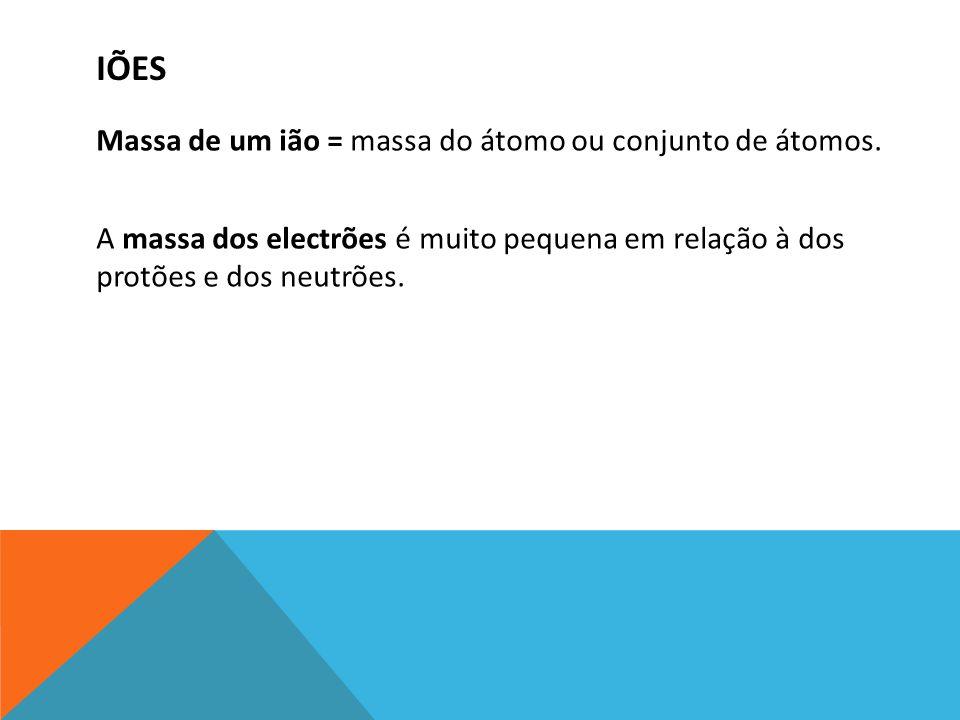 IÕES Massa de um ião = massa do átomo ou conjunto de átomos. A massa dos electrões é muito pequena em relação à dos protões e dos neutrões.