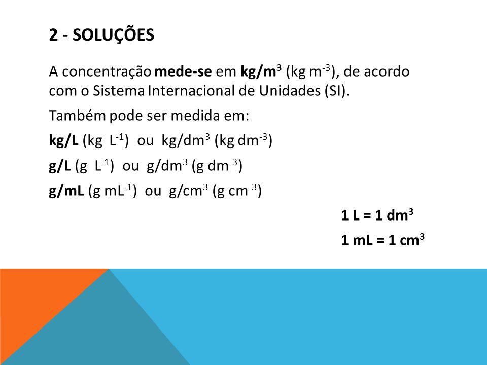 2 - SOLUÇÕES A concentração mede-se em kg/m 3 (kg m -3 ), de acordo com o Sistema Internacional de Unidades (SI). Também pode ser medida em: kg/L (kg