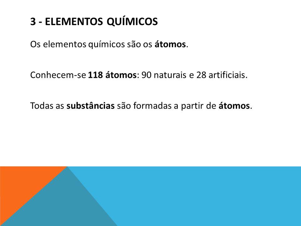 3 - ELEMENTOS QUÍMICOS Os elementos químicos são os átomos. Conhecem-se 118 átomos: 90 naturais e 28 artificiais. Todas as substâncias são formadas a