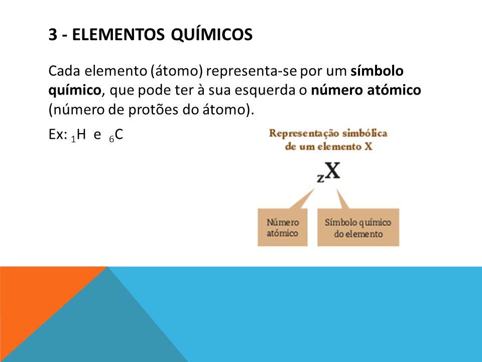 3 - ELEMENTOS QUÍMICOS Cada elemento (átomo) representa-se por um símbolo químico, que pode ter à sua esquerda o número atómico (número de protões do