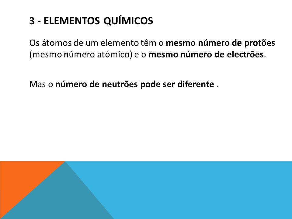 3 - ELEMENTOS QUÍMICOS Os átomos de um elemento têm o mesmo número de protões (mesmo número atómico) e o mesmo número de electrões. Mas o número de ne