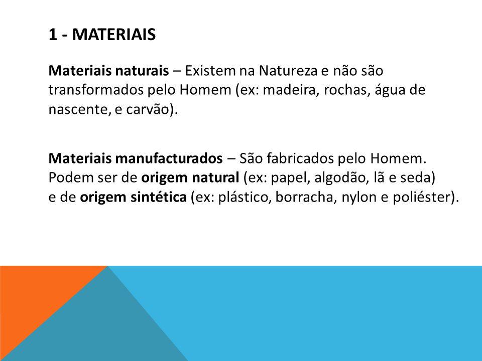 1 - MATERIAIS Materiais naturais – Existem na Natureza e não são transformados pelo Homem (ex: madeira, rochas, água de nascente, e carvão). Materiais