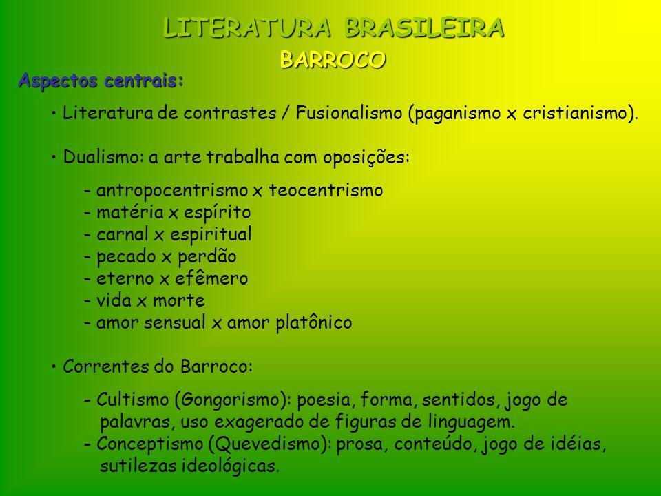 LITERATURA BRASILEIRA Aspectos centrais: Literatura de contrastes / Fusionalismo (paganismo x cristianismo). Dualismo: a arte trabalha com oposições: