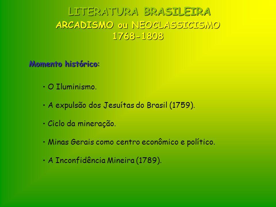 ARCADISMO ou NEOCLASSICISMO 1768-1808 LITERATURA BRASILEIRA Momento histórico: O Iluminismo. A expulsão dos Jesuítas do Brasil (1759). Ciclo da minera