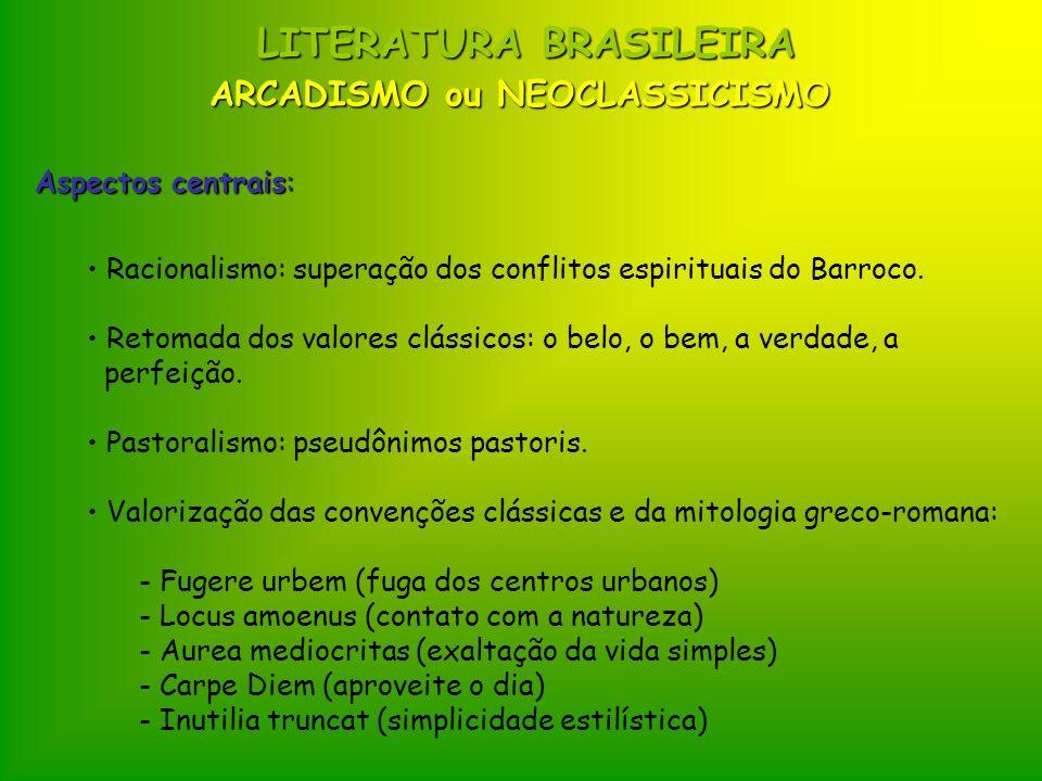LITERATURA BRASILEIRA Aspectos centrais: Racionalismo: superação dos conflitos espirituais do Barroco. Retomada dos valores clássicos: o belo, o bem,