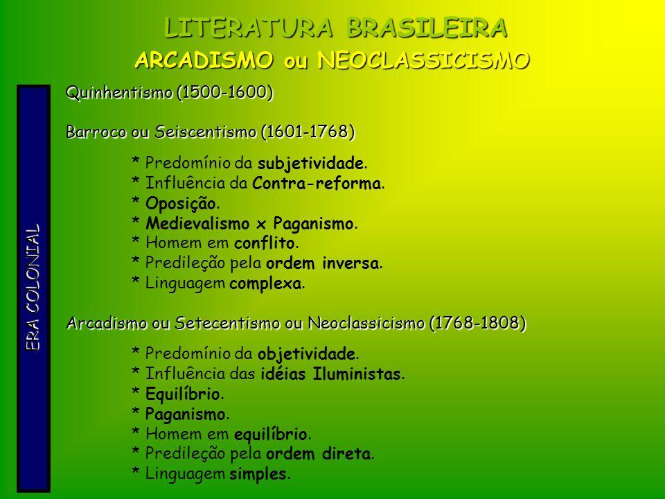 ARCADISMO ou NEOCLASSICISMO LITERATURA BRASILEIRA ERA COLONIAL Quinhentismo (1500-1600) Barroco ou Seiscentismo (1601-1768) * Predomínio da subjetivid