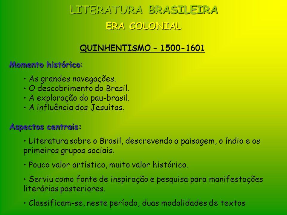 LITERATURA BRASILEIRA ERA COLONIAL QUINHENTISMO – 1500-1601 Momento histórico: As grandes navegações. O descobrimento do Brasil. A exploração do pau-b