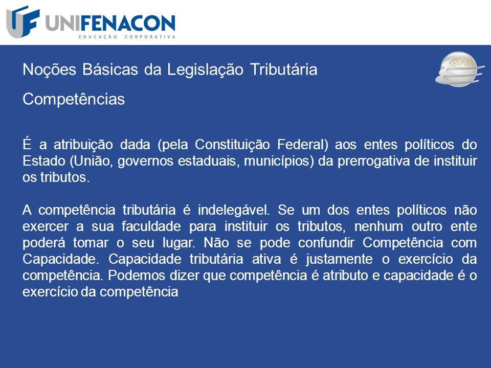 SPED Noções Básicas da Legislação Tributária Competências É a atribuição dada (pela Constituição Federal) aos entes políticos do Estado (União, govern