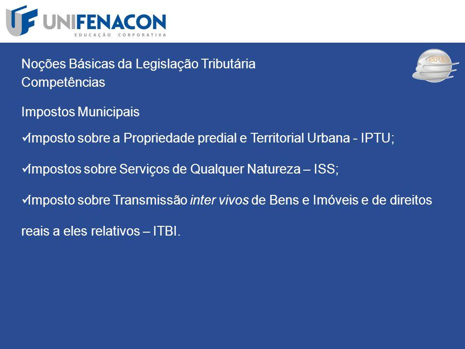 SPED Noções Básicas da Legislação Tributária Competências Impostos Municipais Imposto sobre a Propriedade predial e Territorial Urbana - IPTU; Imposto